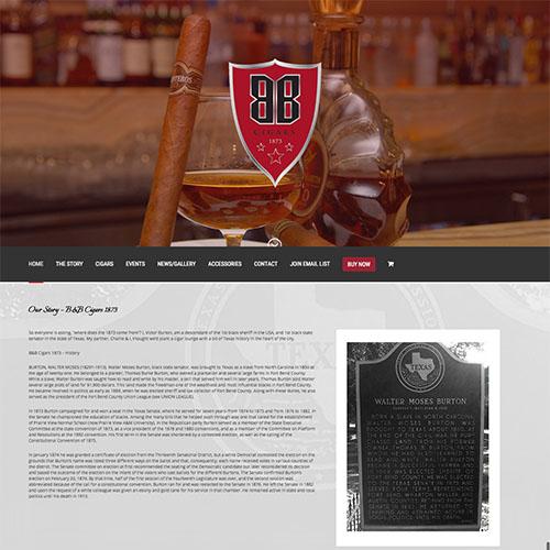 B B Cigar landing page